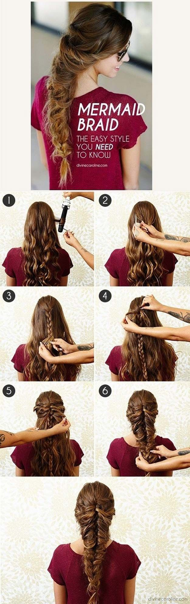 Best Hair Braiding Tutorials - Mermaid Braid - Easy Step by Step Tutorials for B...