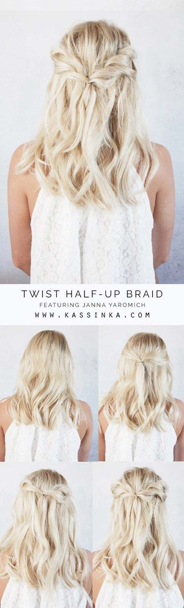 Short Hair Styles You Can Do In 10 Minutes or Less - Twist Half-up Braid - Easy ...