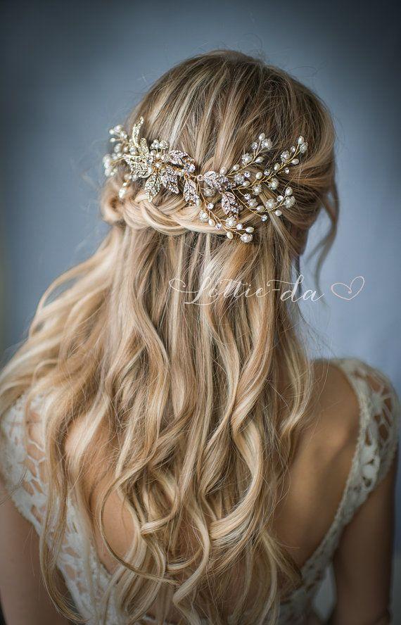 Boho Gold or Silver Flower Leaf Hair Vine Wedding Headpiece, Wire Hair comb, Wed...