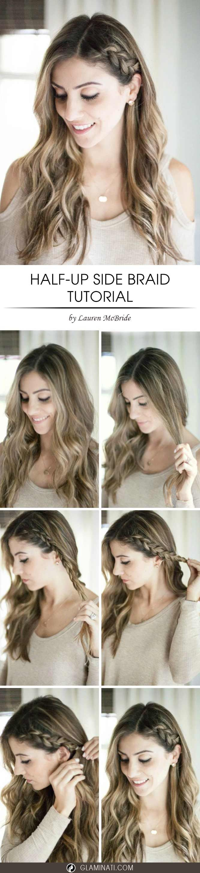 A half up side braid would be a perfect option if you love wearing your hair dow...