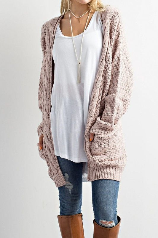 Long blush cardigan, white top, jeans, tan boots