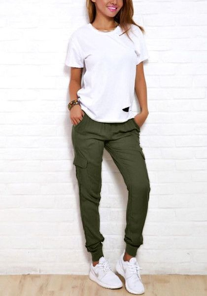Lookbook Store // Look cool and stylish with this pair of rifle green cargo jogg...