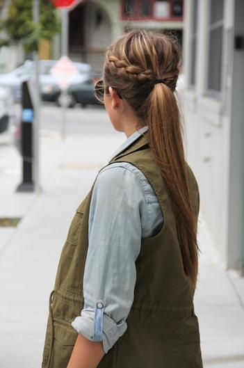 Make two basic braids out of good sized sections on both sides of head then pony...