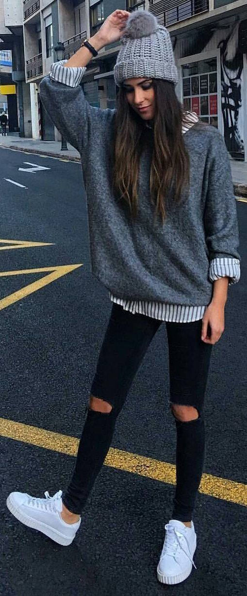 #winter #fashion / Grey Beanie & Knit / Striped Shirt / Destroyed Skinny Jeans /...