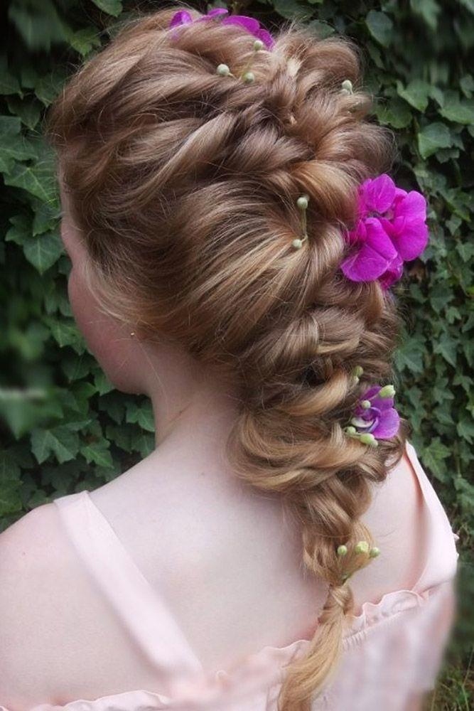 33 Cute Flower Girl Hairstyles ❤ flower girl hairstyles braid with violet flow...