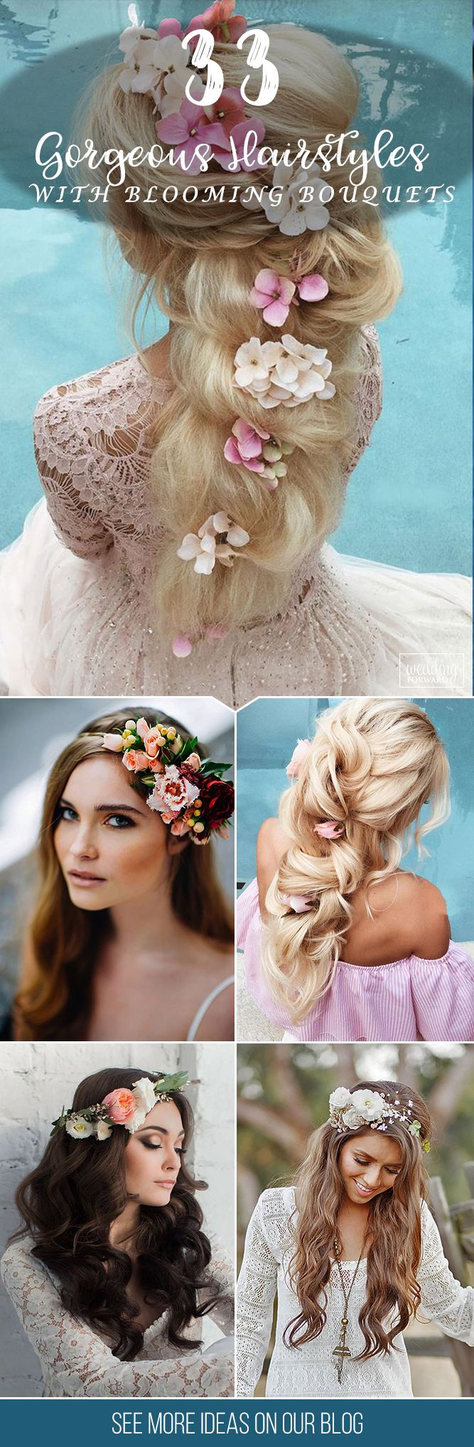 33 Gorgeous Blooming Wedding Hair Bouquets ❤ Floral crowns and blooming weddin...