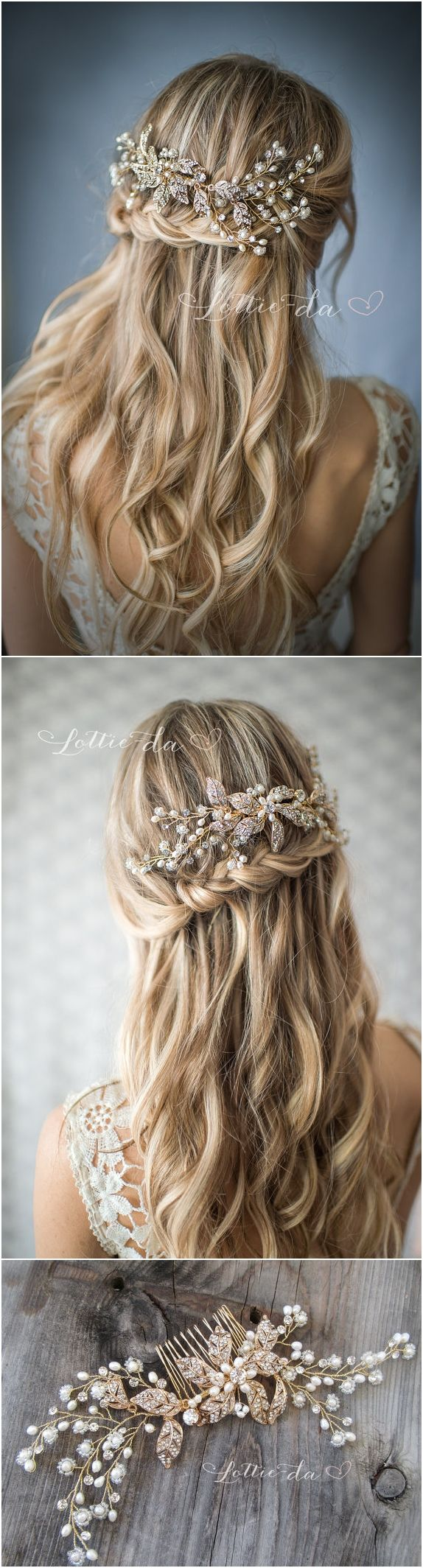 Boho Gold or Silver Flower Leaf Hair Vine Wedding Headpiece, Wire Hair comb, Wed...