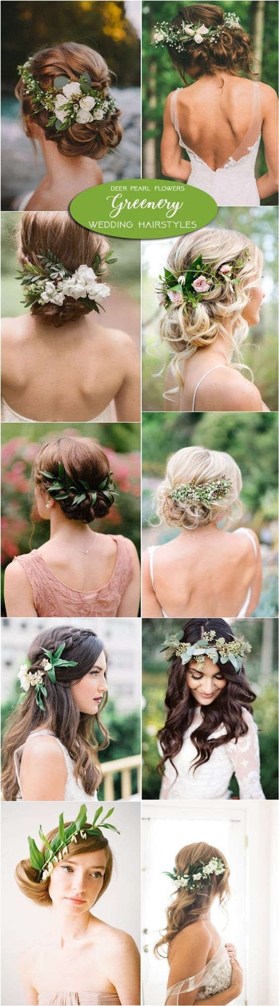Greenery wedding hairstyles and wedding updos with green flowers / www.deerpearl...