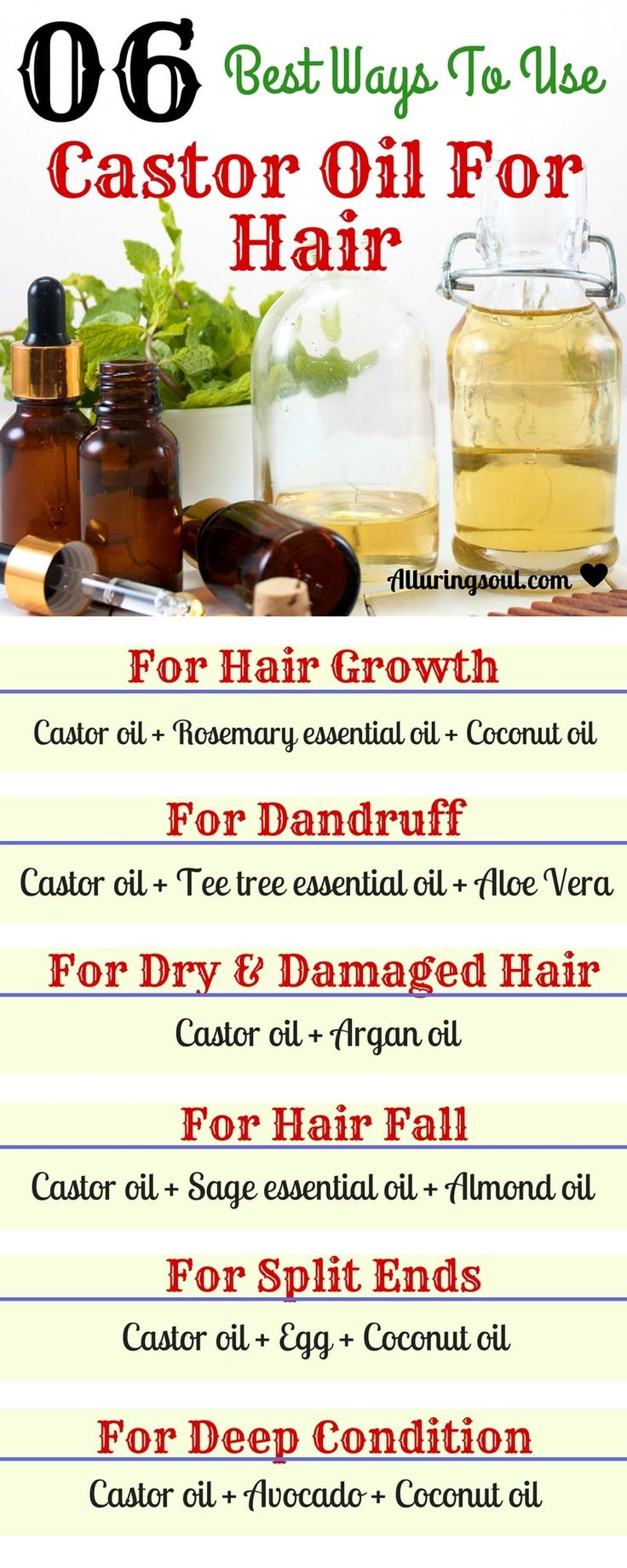 Castor oil is best for hair growth and other hair problems like dry, frizzy hair...