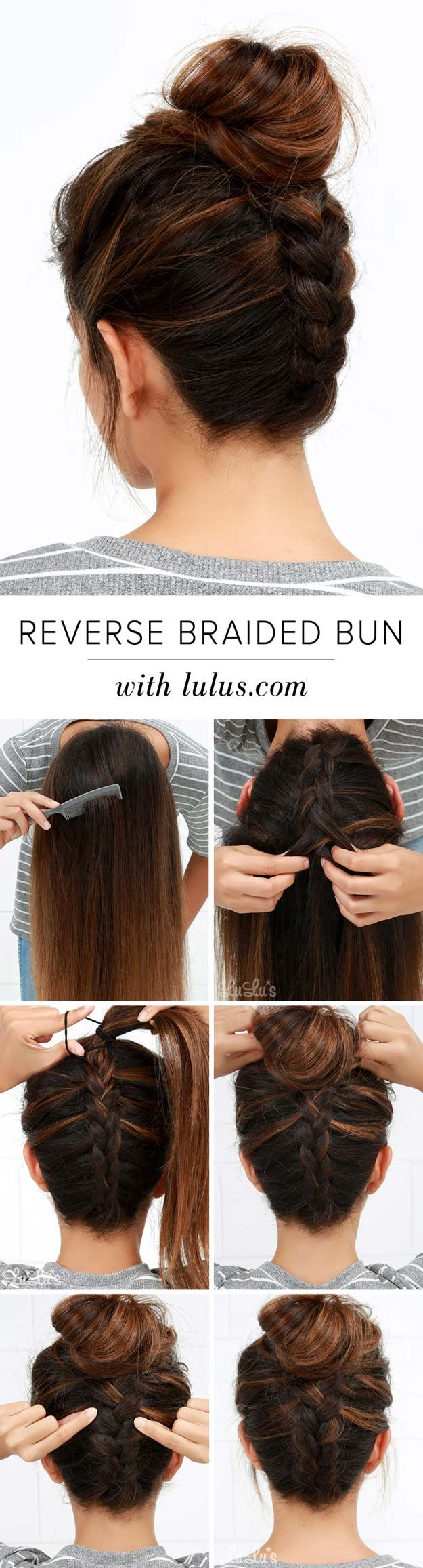 Cool and Easy DIY Hairstyles - Reversed Braided Bun - Quick and Easy Ideas for B...