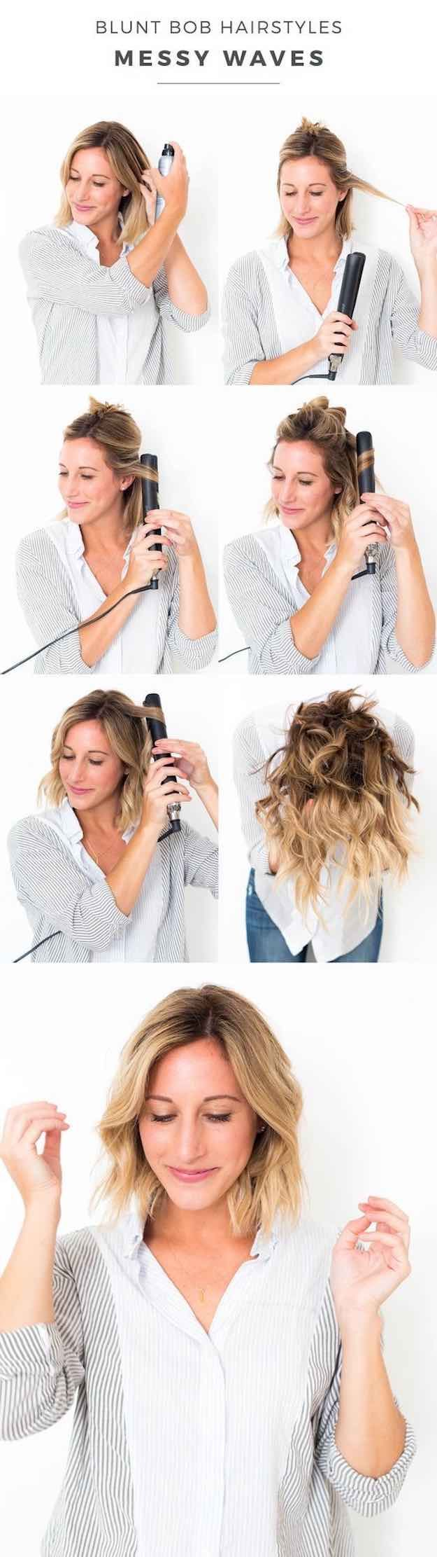 41 Lob Haircut Ideas For Women - BLUNT BOB HAIRSTYLES: MESSY WAVES -What is a lo...
