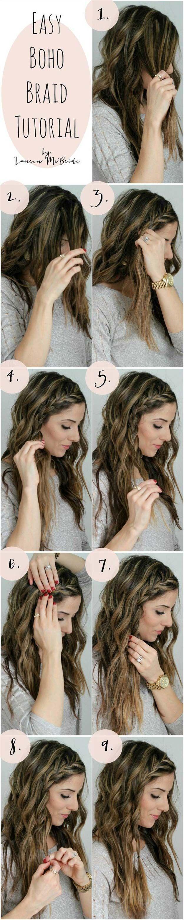 Best Hair Braiding Tutorials - Easy Boho Braid Tutorial - Easy Step by Step Tuto...
