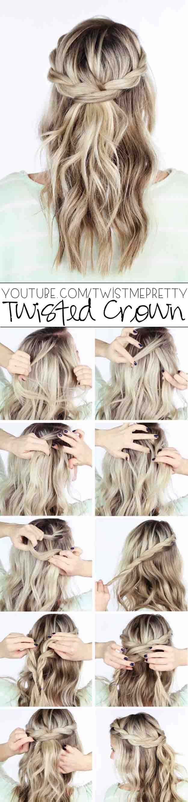 Best Hair Braiding Tutorials - TWISTED CROWN BRAID TUTORIAL - Step By Step Easy ...