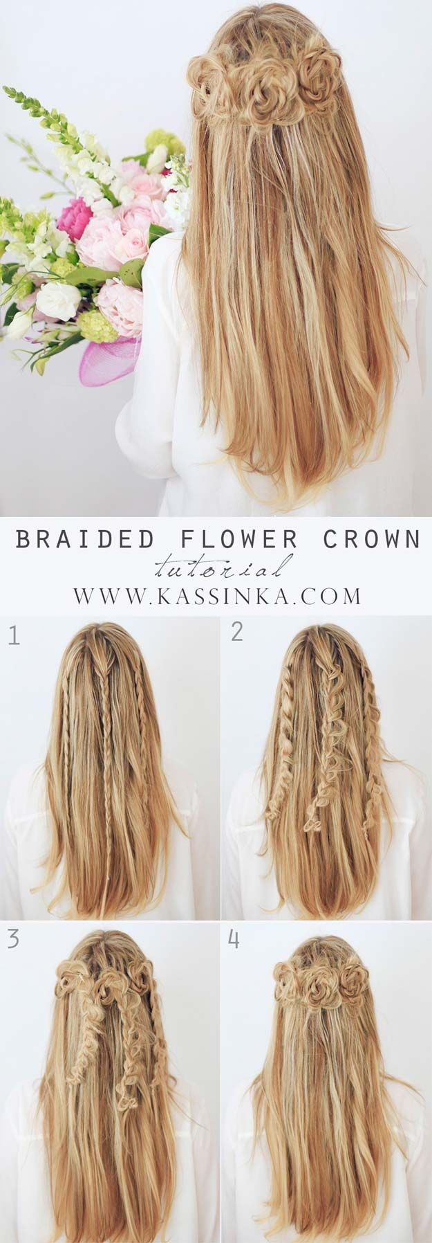 Best Hairstyles for Long Hair - Braided Flower Crown - Step by Step Tutorials fo...