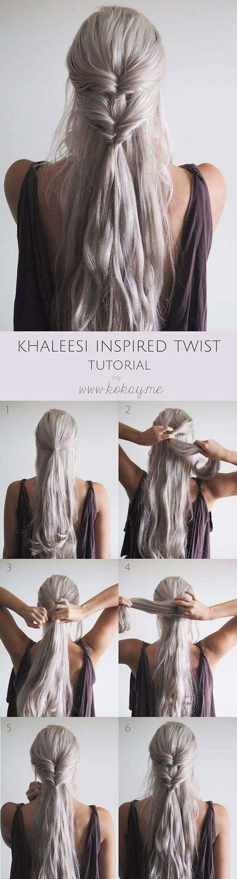 Best Hairstyles for Long Hair - Khaleesi Inspired Twist - Step by Step Tutorials...