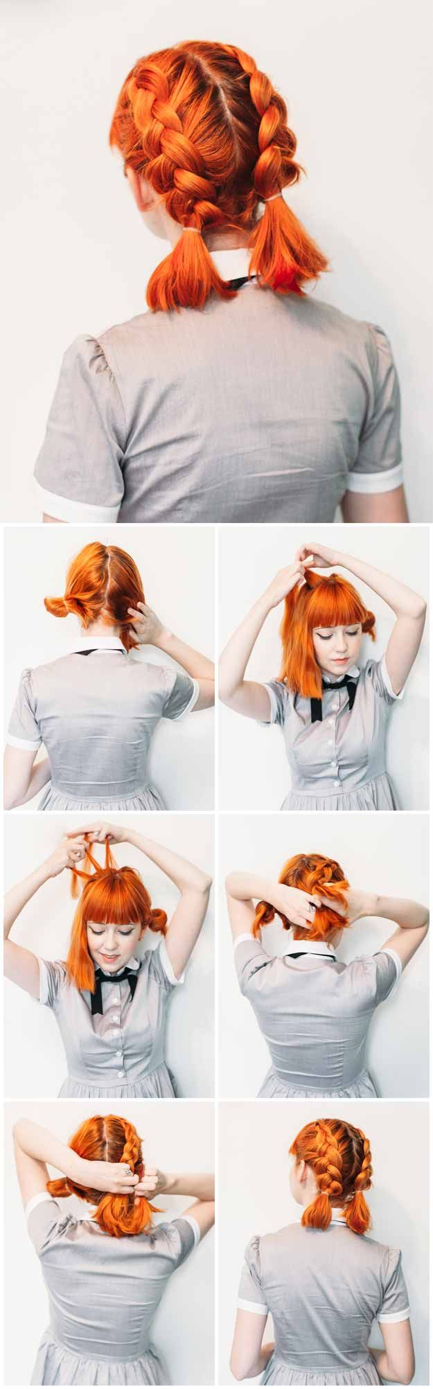 Best Hairstyles For Teens - Double Dutch Pigtails for Short Hair- Easy And Cute ...