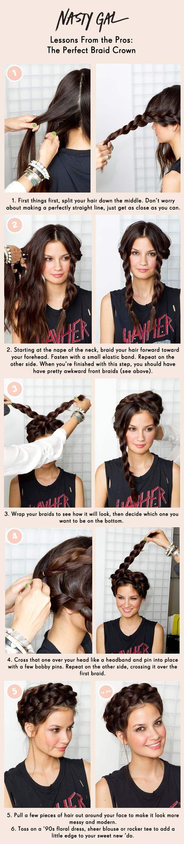 Cool and Easy DIY Hairstyles - Braid Crown - Quick and Easy Ideas for Back to Sc...