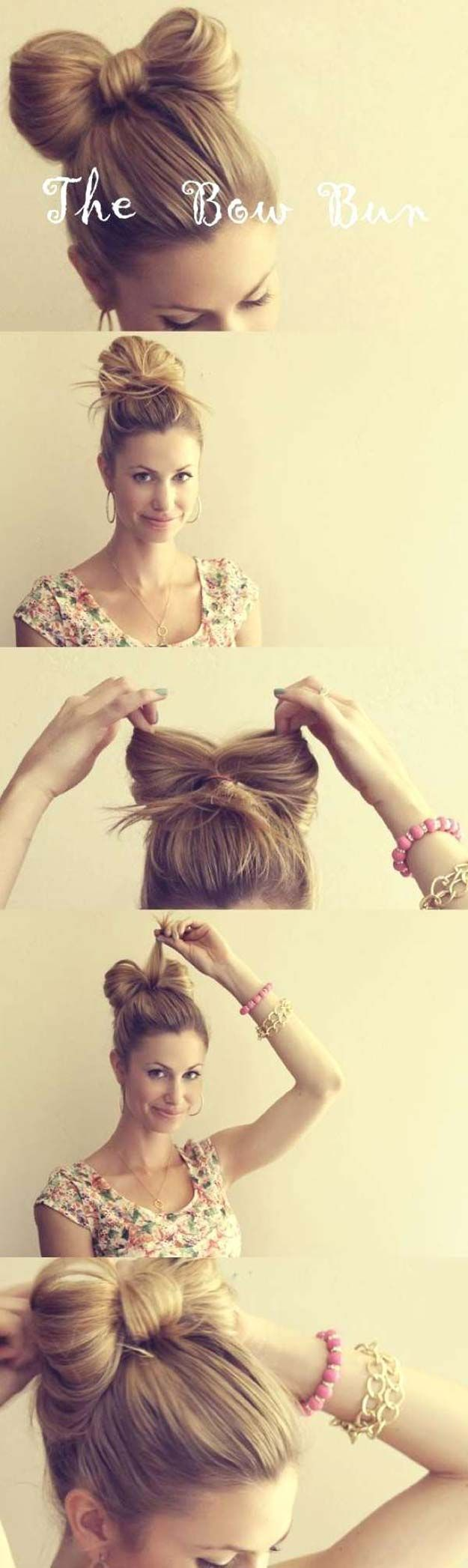 Cool and Easy DIY Hairstyles - The Hair Bow - Quick and Easy Ideas for Back to S...