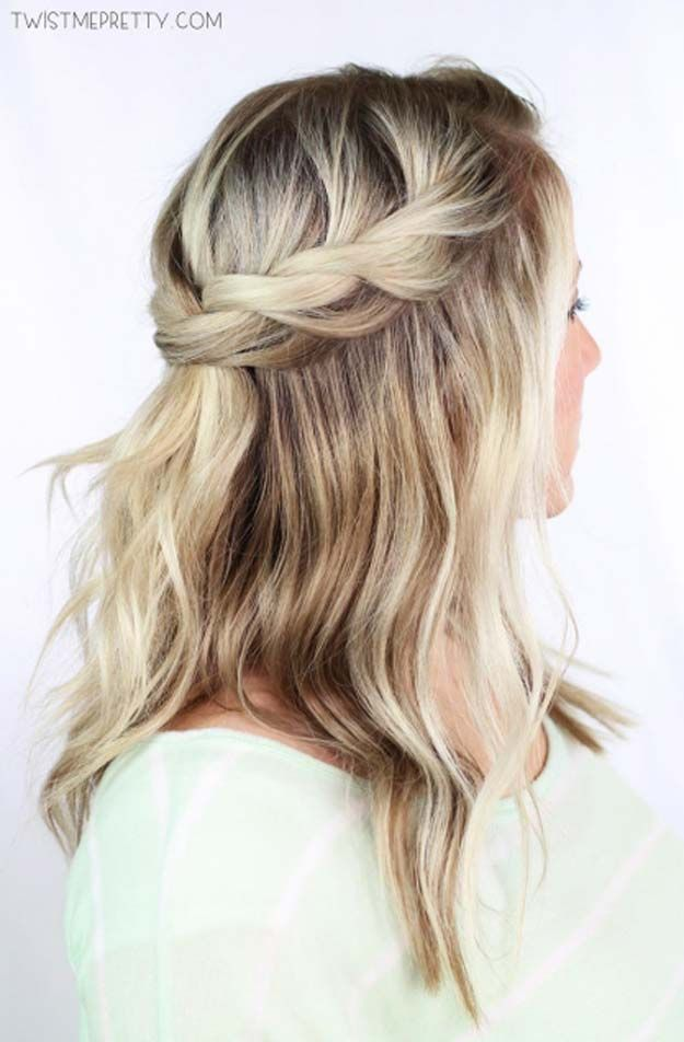 Cool and Easy DIY Hairstyles - Twisted Crown Braid - Quick and Easy Ideas for Ba...