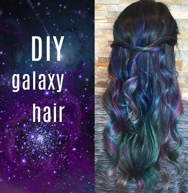 DIY Galaxy Crafts - DIY Galaxy hair tutorial - Galaxy DIY Projects for Your Room...