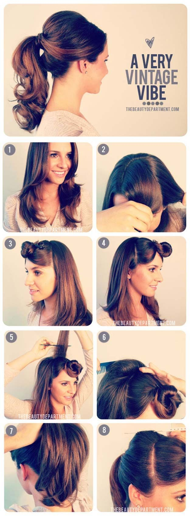 Easy Hairstyles for Work - 1950's Inspired Ponytail - Quick and Easy Hairstyles ...
