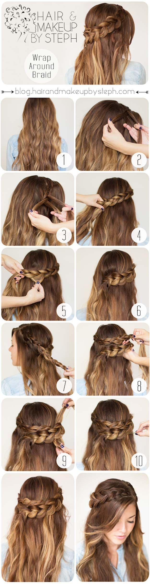 Easy Hairstyles for Work - Wrap Around Braid - Quick and Easy Hairstyles For The...