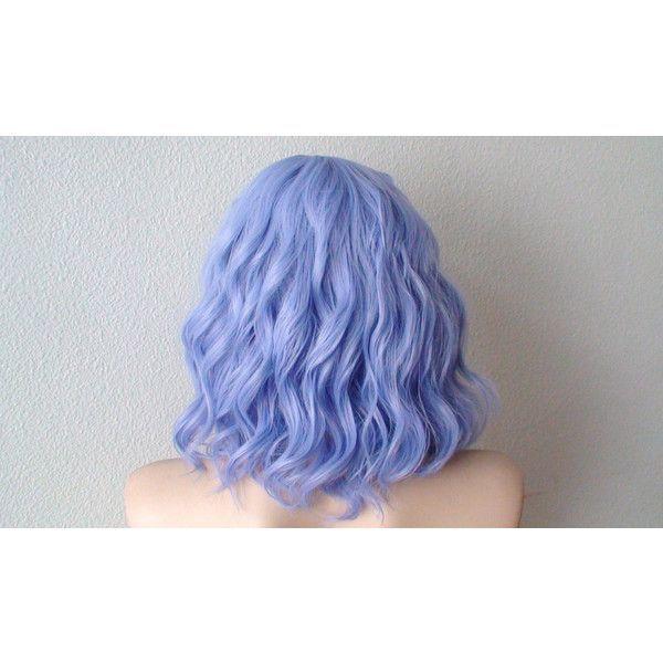 Pastel lavender blue beach wavy wig. Short curly/wavy hairstyle wig. ($90) ❤ l...