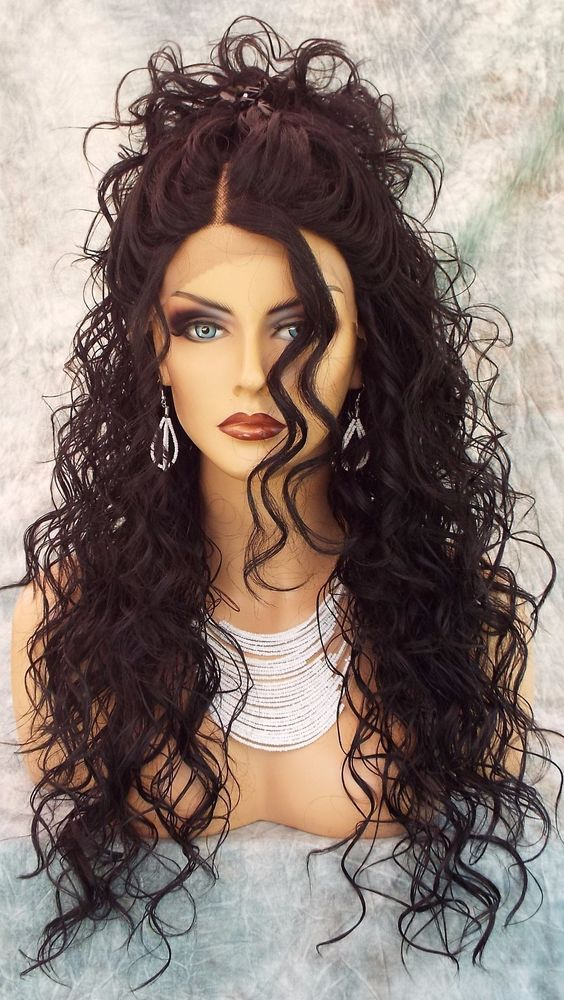 SWISS LACE FRONT DEEP LACE PART LONG CURLY HEAT FRIENDLY WIG COLOR 1B  SEXY 318 ...