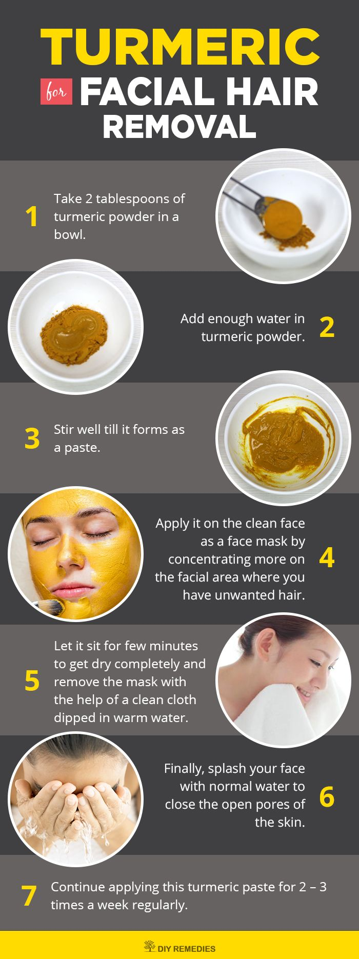 Turmeric for Facial Hair Removal    This is a simple paste that is very effectiv...