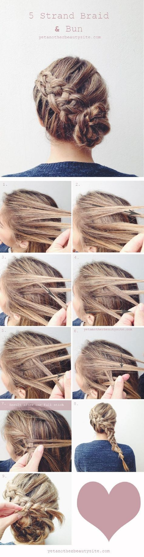 5 Strand Braid Bun - 16 Heatless DIY Hairstyles To Get You Through The Summer | ...