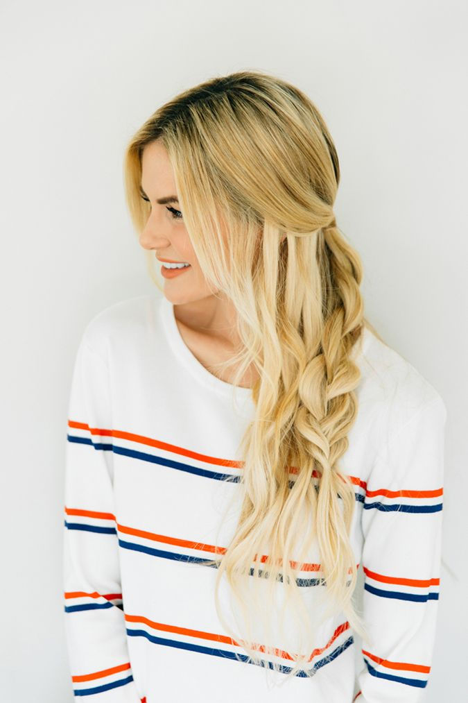 Amber Fillerup's messy half braid for just-woke-up-and-I'm-late-for-clas...