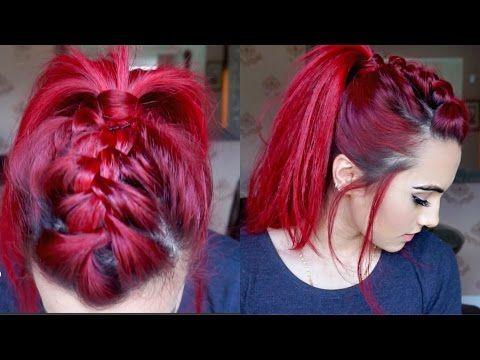 Braided Faux hawk hair tutorial - YouTube