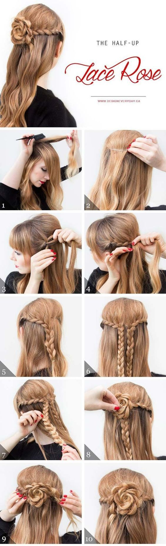 Cool and Easy DIY Hairstyles - The Half Up Lace Rose - Quick and Easy Ideas for ...