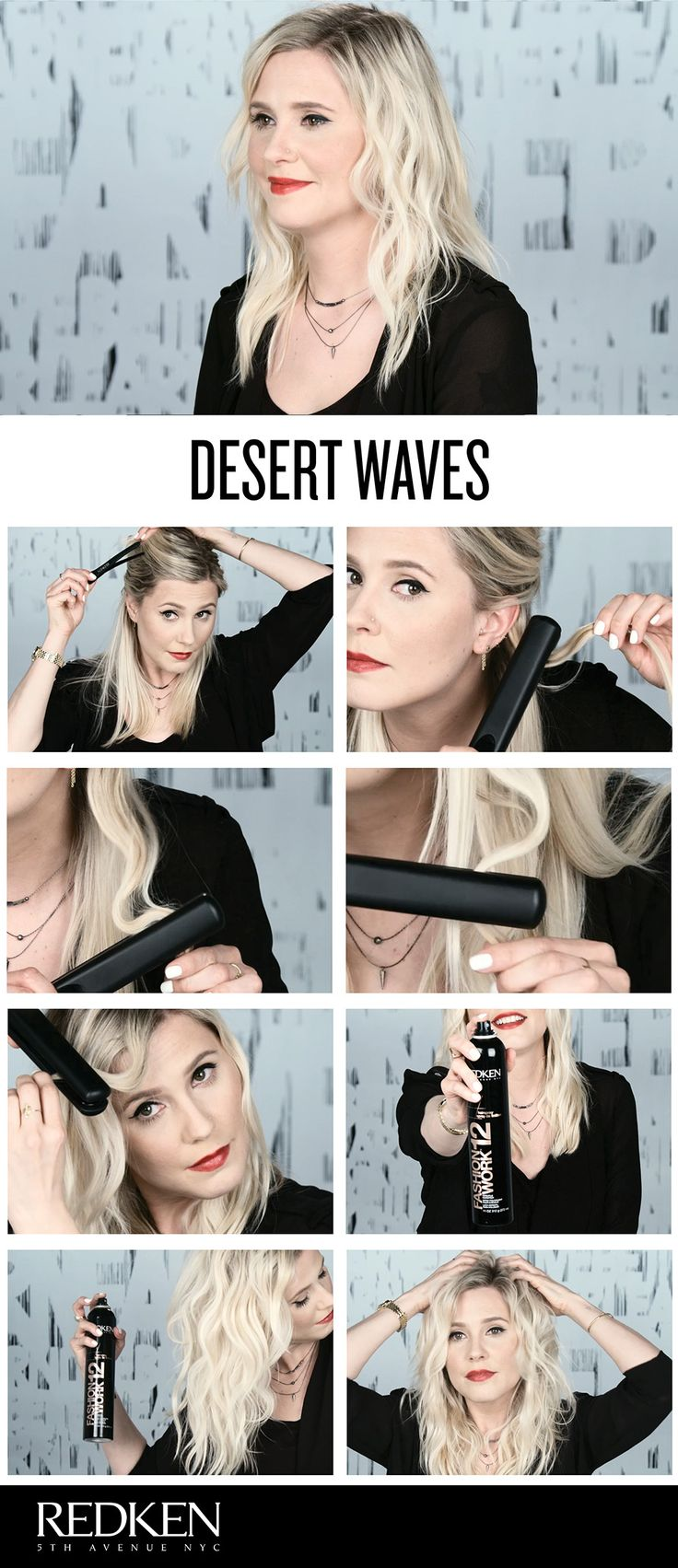 Creating waves with a flat iron is quick and easy. In this hairstyle tutorial, R...