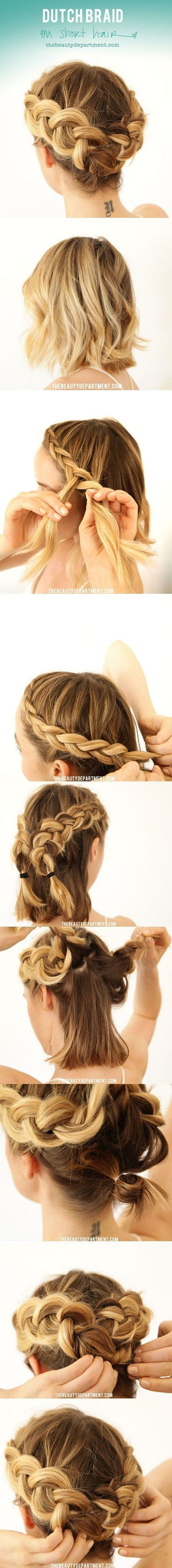 Crown Braid For Bob Length Hair Tutorial therighthairstyle...