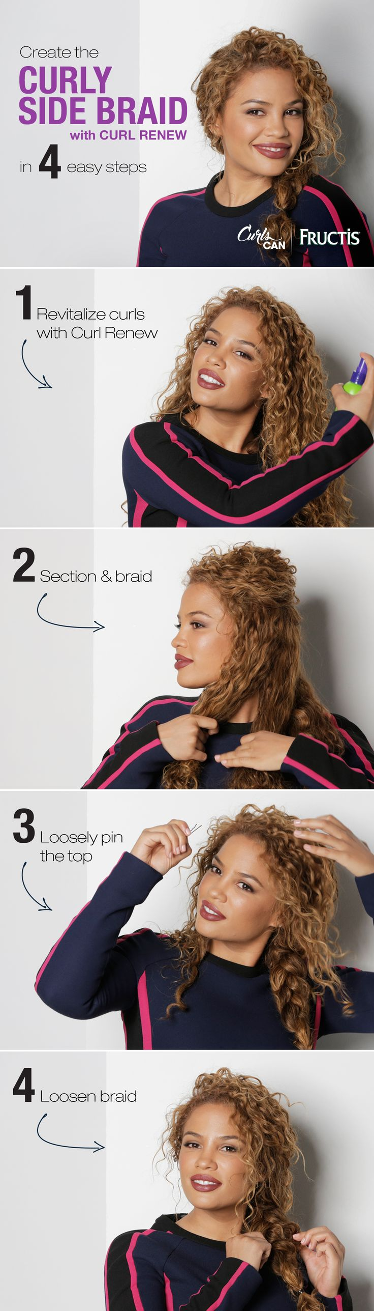 Curly hair is perfect for a messy braid! Watch Andrea's Choice create this sim...