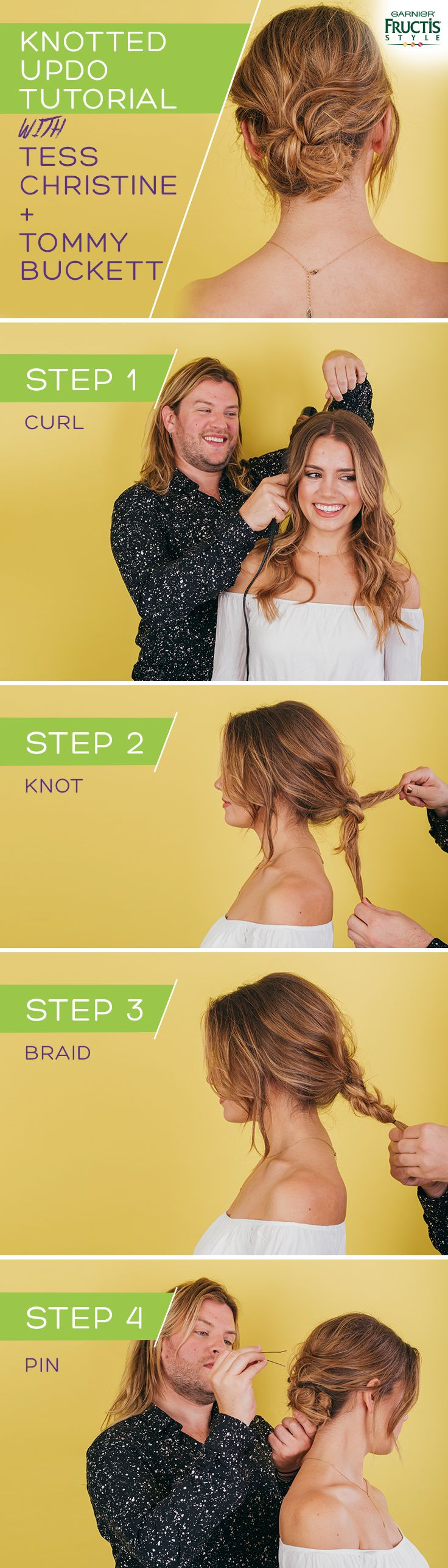 Cute and simple knotted bun hair tutorial created by Garnier celebrity stylist T...