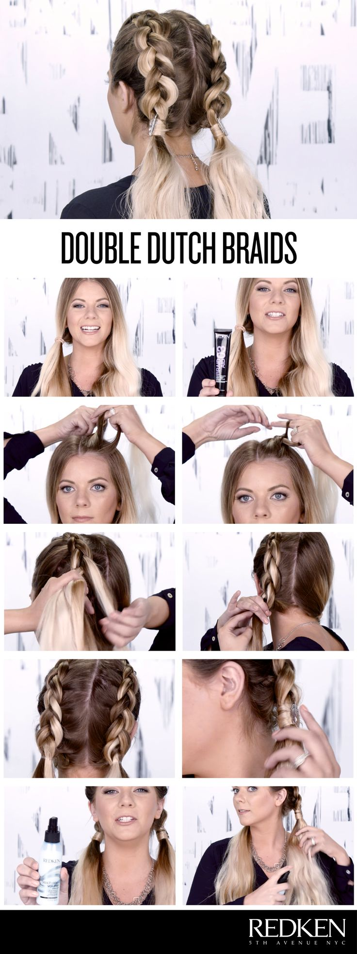 Double dutch braids look great on everyone! Try this look to keep hair off your...
