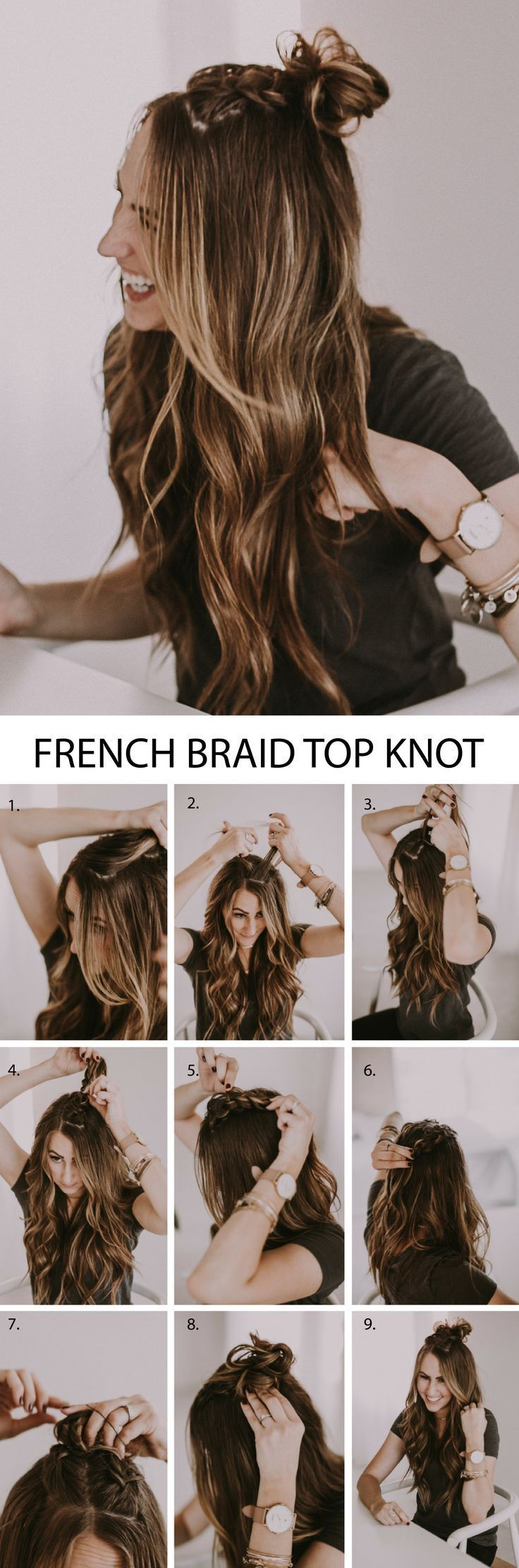 Double French Braid Half Up Top Knot. Such a beautiful hairstyle with braids and...