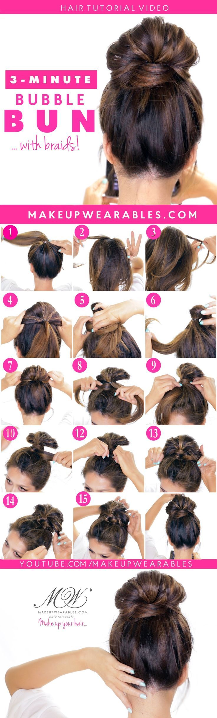 Easy Bubble Bun with Braids!  Cute Updo Hairstyles | #hair #style Nail Design, N...