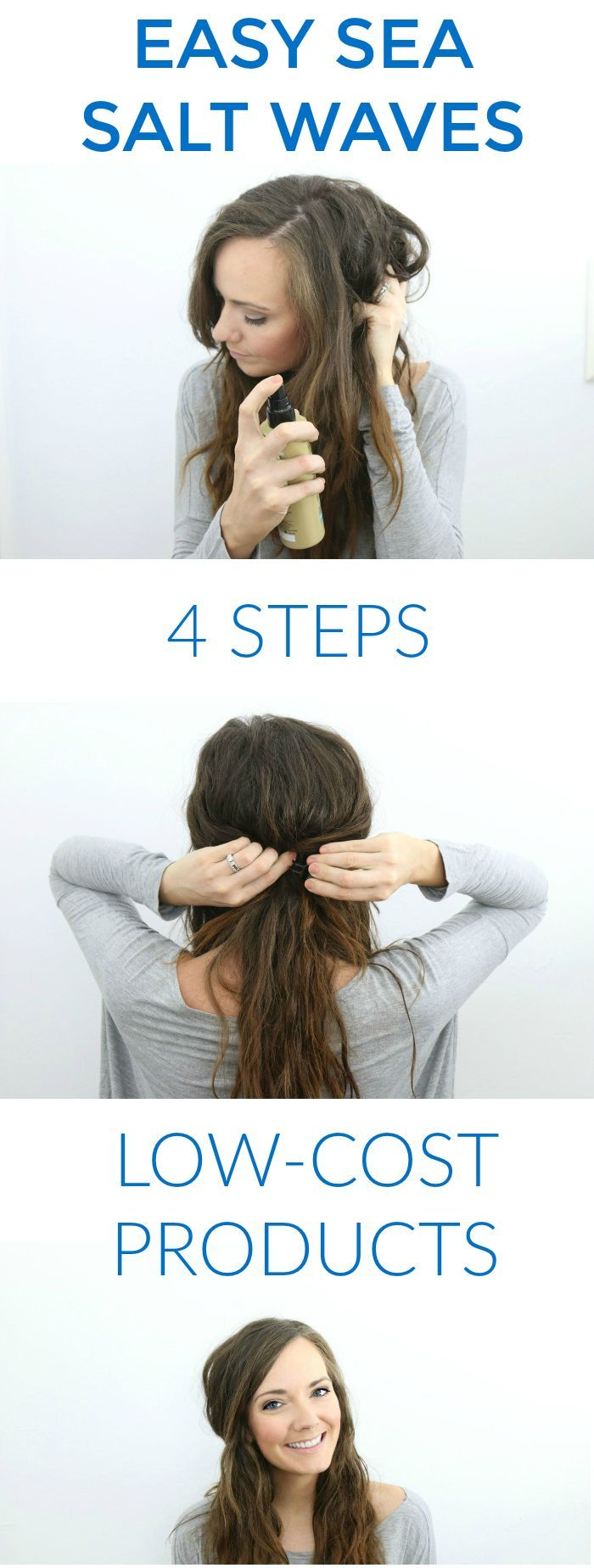 Easy Sea Salt Waves Hair Tutorial | easy hair tutorials | beachy waves hair tuto...