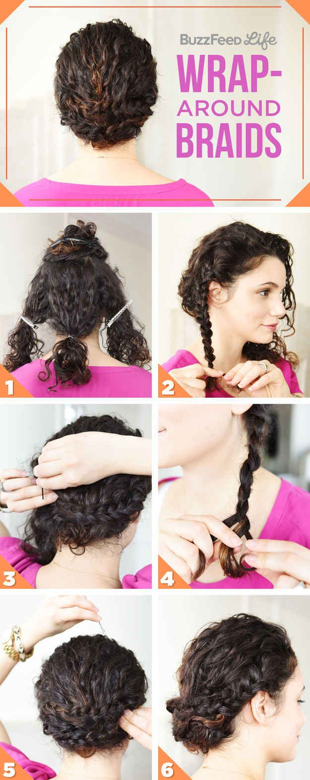 Easy up dos for curly hair. Most of these I could actually see myself doing succ...