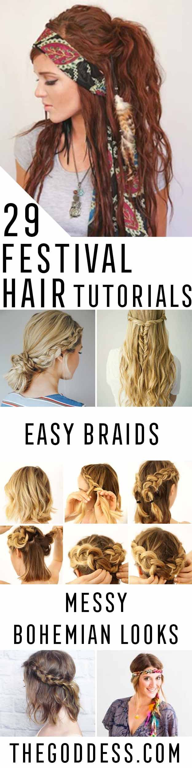 Festival Hair Tutorials - Short Quick and Easy Tutorial Guides and How Tos for B...