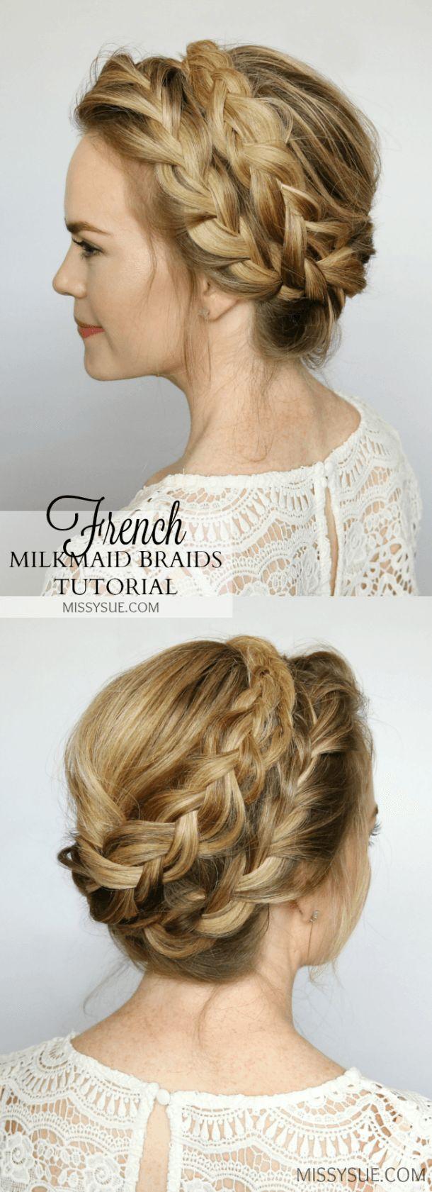 French milkmaid braids updo hair tutorial