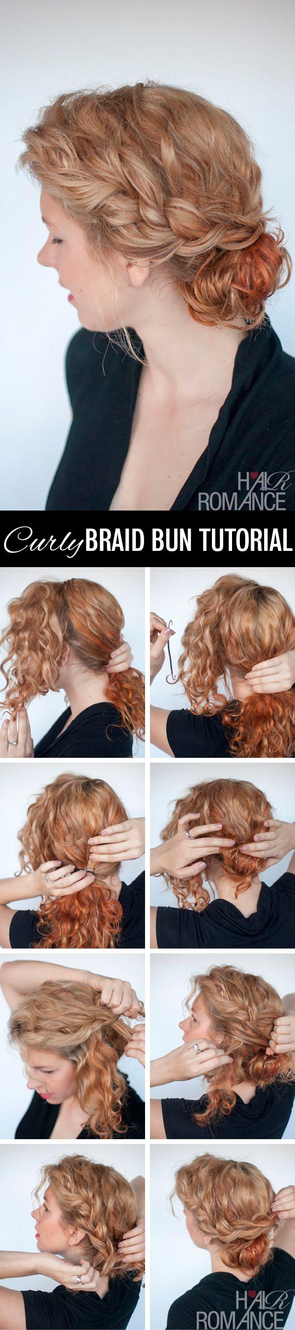 Hair Romance - curly braid bun hair tutorial