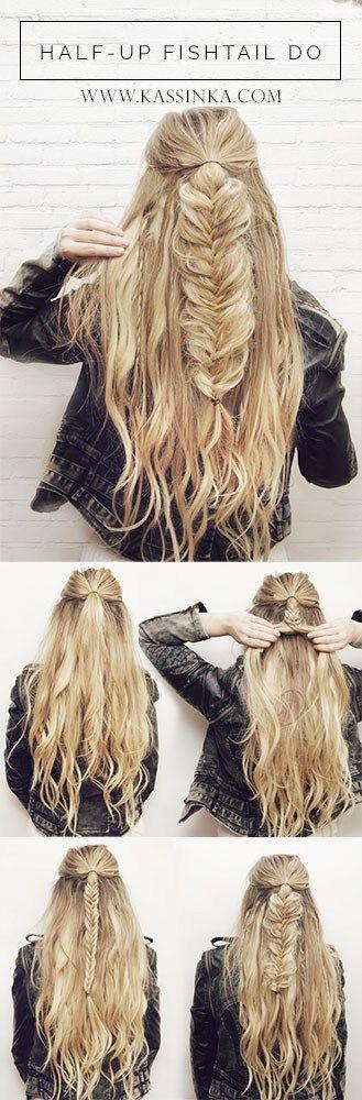 Half-up Fishtail Braid- Easy Hair Tutorial