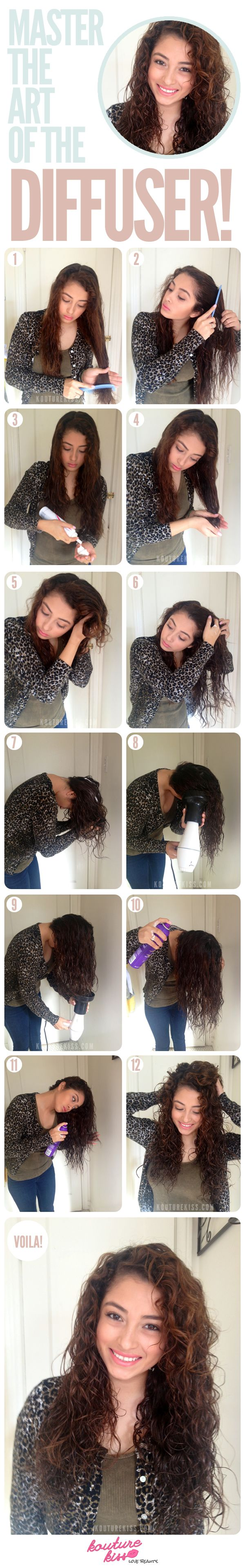 Attention curly-haired girls! Master the art of the diffuser #hairtip #haircolor...