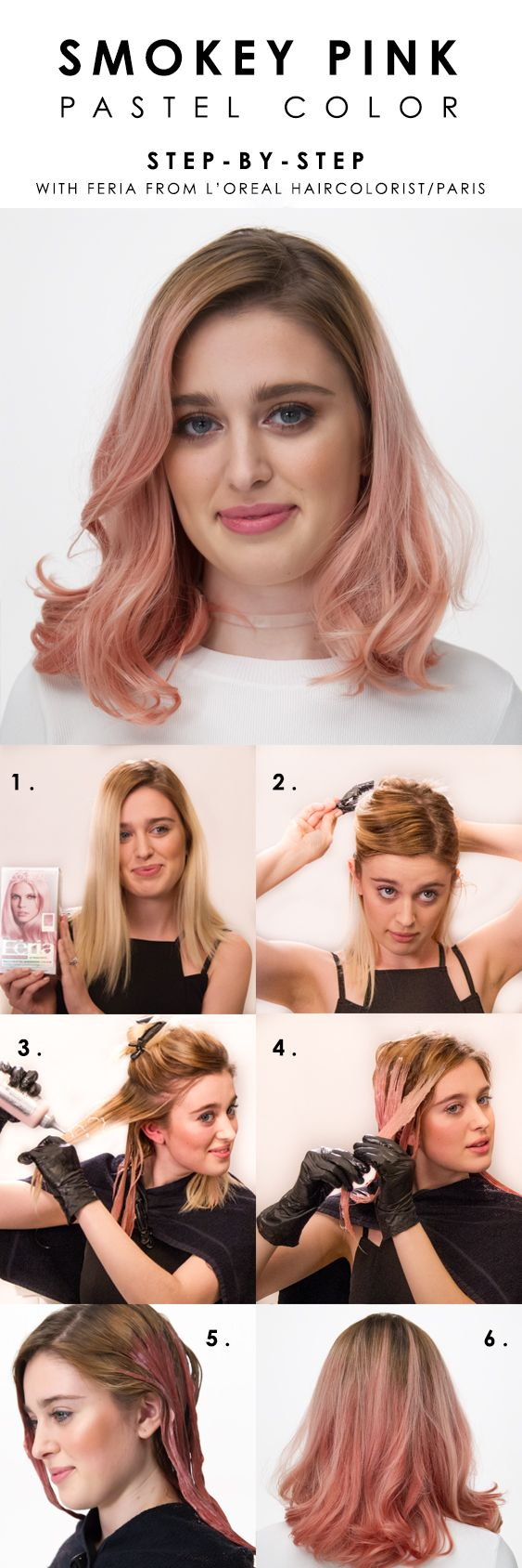 How to color hair pastel pink with L'Oreal Paris Feria Smokey Pastels. Watch...