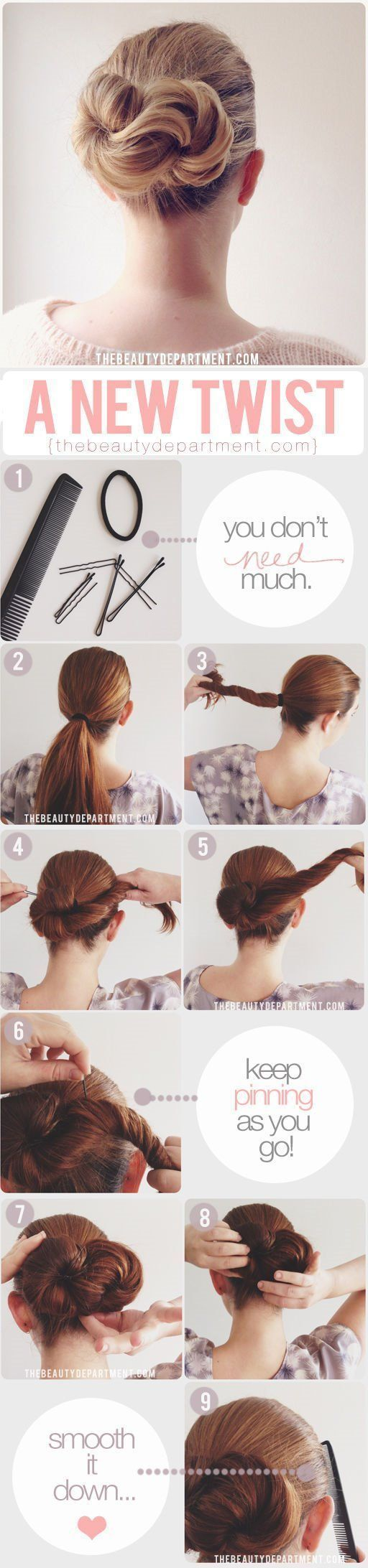Long hair style: twist updo. Very cute and easy enough to do as an every day hai...
