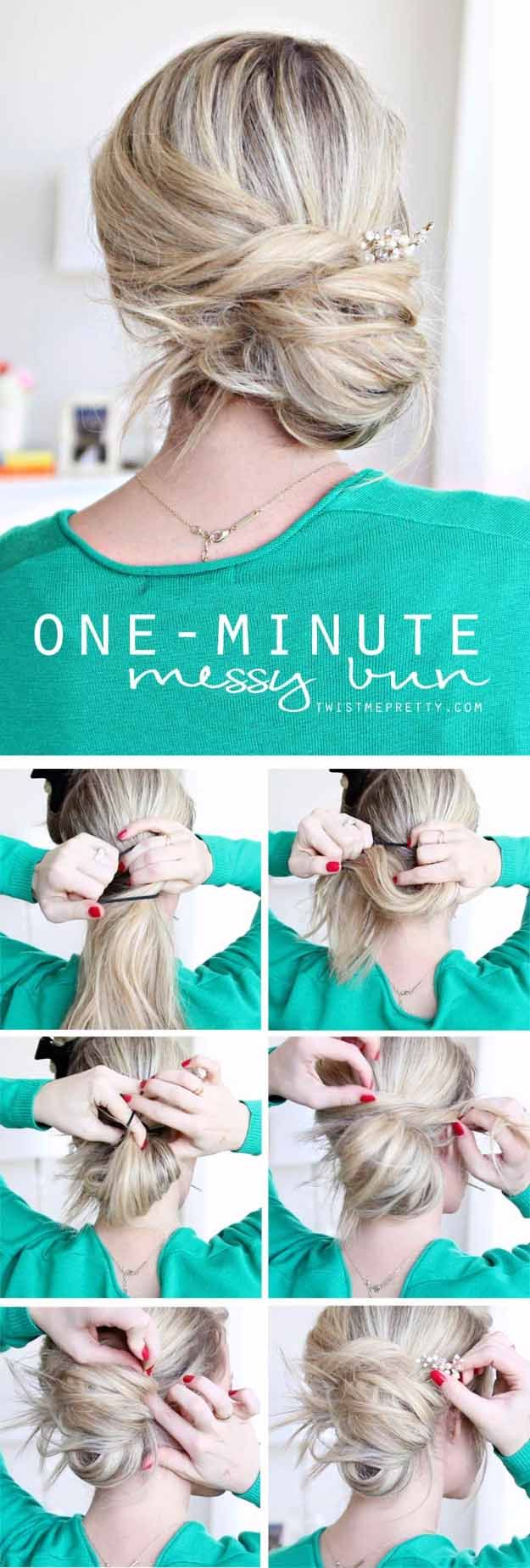 Long Hair Styles for 2017 - One-Minute Messy Bun Tutorial- Easy Tutorials for Lo...